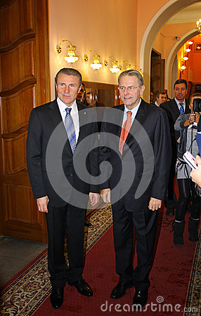 Serhii Bubka and Jacques Rogge Editorial Photo