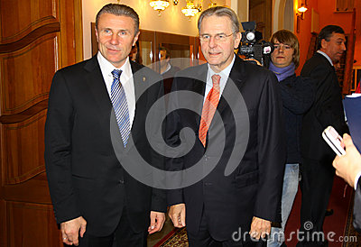 Serhiy Bubka and Jacques Rogge Editorial Image