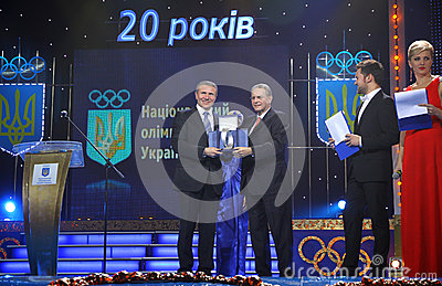 Serhiy Bubka and Jacques Rogge Editorial Photo