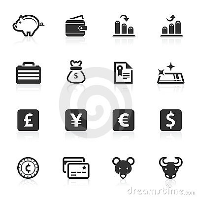 Serie del minimo de los iconos del asunto y de las finanzas