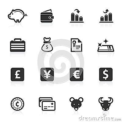Serie för minimo för affärsfinanssymboler
