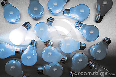 Series of lightbulbs in blue