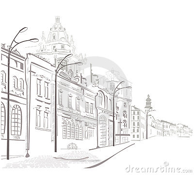 Free Series Of Sketches Of Streets In Old City Stock Photos - 20902653