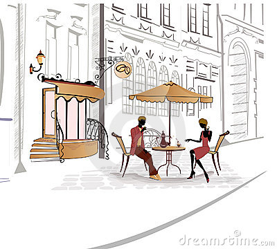 Free Series Of Sketches Of Streets With Cafe Royalty Free Stock Photos - 20902598