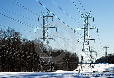 Series of  Power Line Towers