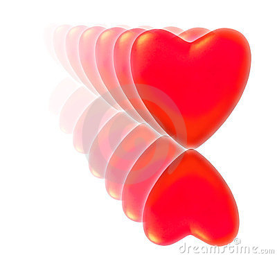 A series of red hearts with reflection.
