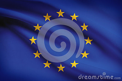 Series of ruffled flags. European Union.