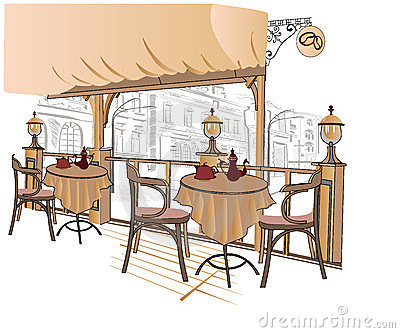 Series of sketches of street cafes