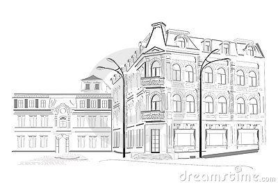 Series of sketches of streets