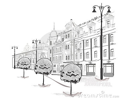 Series of sketches of streets in old city