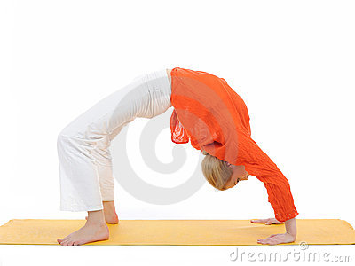 Series or yoga photos.woman in chakrasana pose