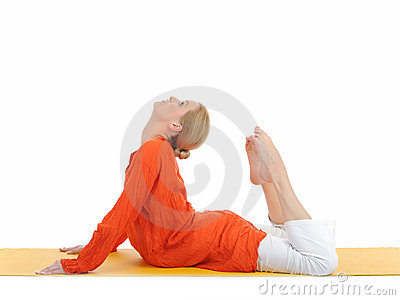 Series or yoga photos. woman in cobra pose