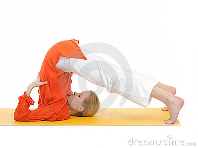 Series or yoga photos.woman in halasana pose