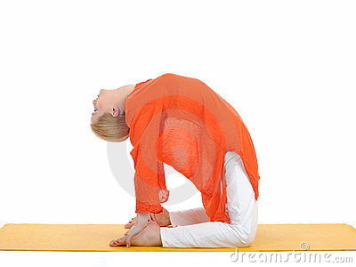 Series or yoga photos.young woman in camel pose