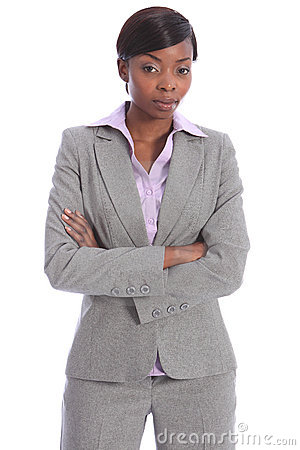 Serious beautiful black woman in business suit