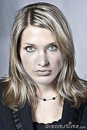 Serious Beautiful Blond Woman