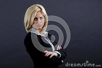 Serious blond businesswoman