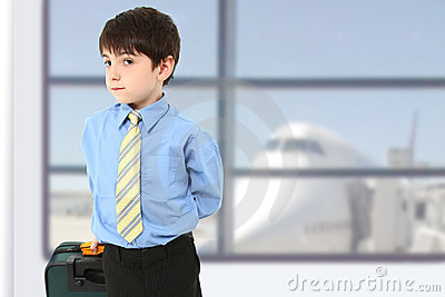 Serious Boy in Airport