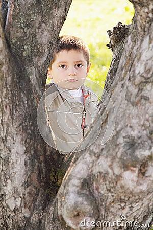 Serious boy behind tree