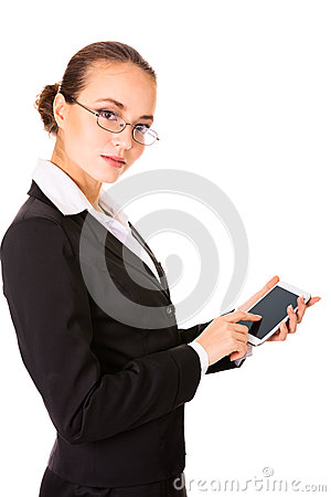 Serious business woman using a modern touch phone
