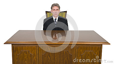 Serious Businessman, Office Desk, Chair, Isolated