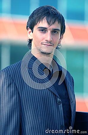 Serious Businessman Portrait Blue Tint