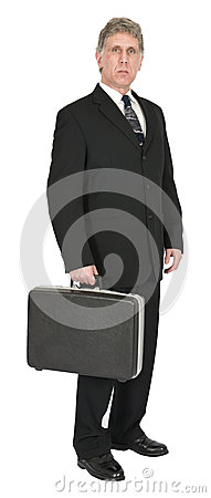 Free Serious Businessman With Briefcase, Isolated On White Royalty Free Stock Photos - 29905418