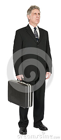 Free Serious Businessman With Briefcase, Isolated On White Stock Images - 29981494