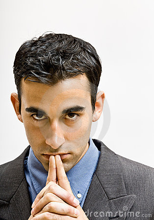 Free Serious Businessman With Hands Clasped Royalty Free Stock Image - 17057656