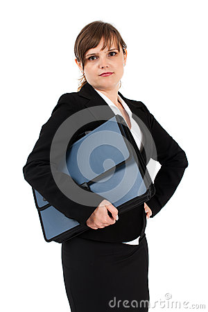 Serious businesswoman with briefcase