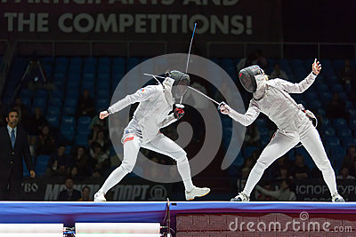 Serious clash on championship of world in fencing Editorial Stock Image