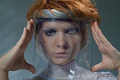 Serious clever woman in glass mask