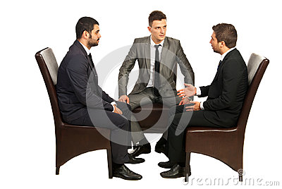 Serious conversation of business men