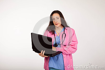 Serious Doctor with Laptop