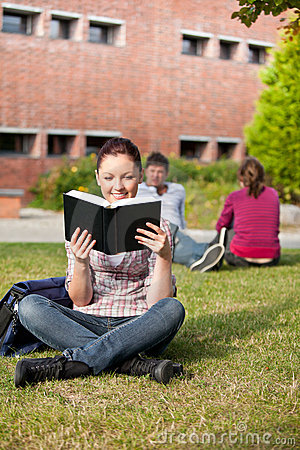 Serious female student reading a book on grass