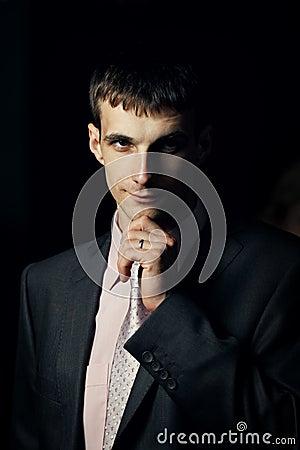 Serious groom