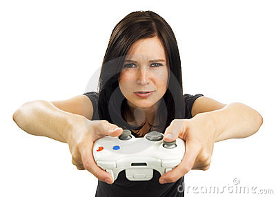 Serious looking girl plays video game