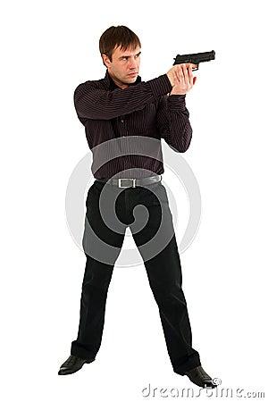 Serious man with a gun