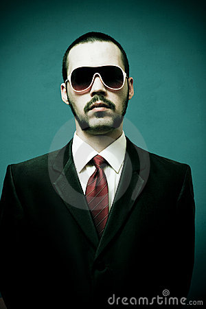 Serious man in suit, mobster