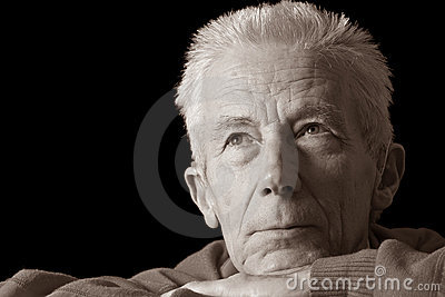 Serious older man in sepia