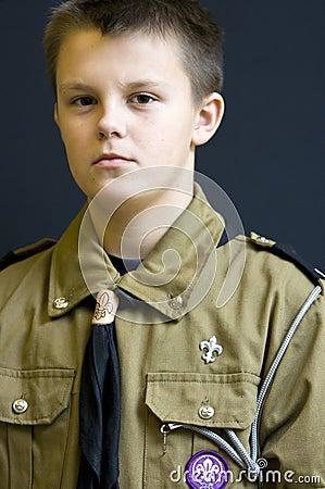 Serious scout boy portrait