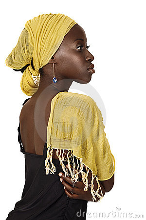 Free Serious South African Woman With Yellow Scarf. Royalty Free Stock Photography - 19077857