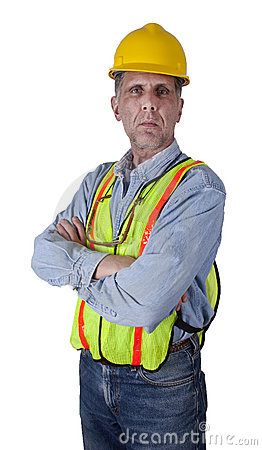 Serious Union Construction Worker Man Isolated