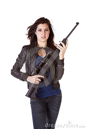 Serious Woman Holding Black Gun Stock Photography Image