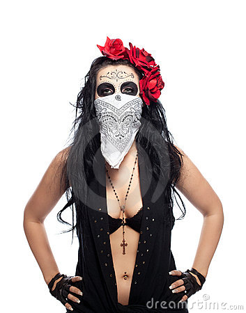 Free Serious Woman In Day Of The Dead Mask Hide Face Stock Photography - 22242982