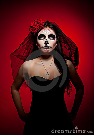 Free Serious Woman In Day Of The Dead Mask On Red Royalty Free Stock Photography - 22528197