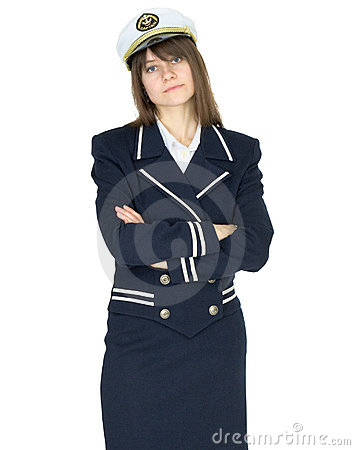 Serious woman in uniform sea captain