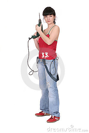 Free Serious Woman With A Drill Stock Photography - 2344372