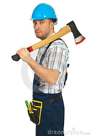Serious worker man with axe
