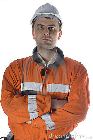 Serious worker portrait isolated on white